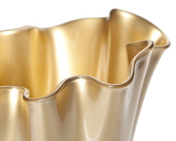 Vase gold metallic aus Glas in Blütenform
